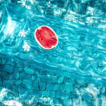 Watermelon in pool